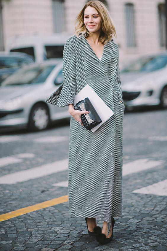 Длинное платье-пальто Street Style