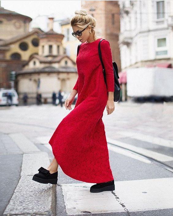 Платье красного цвет Street Style