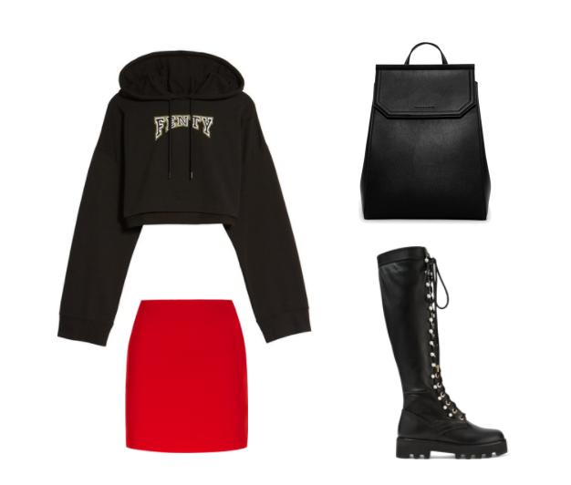 Черное худи с красной юбкой