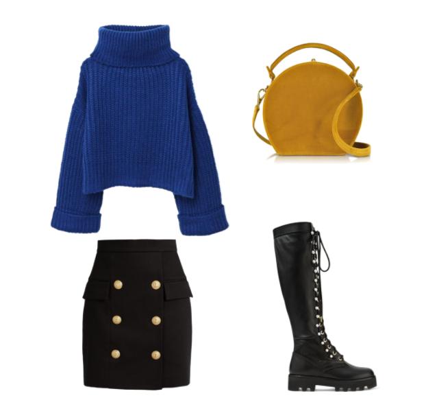 Синий свитер в милитари стиле