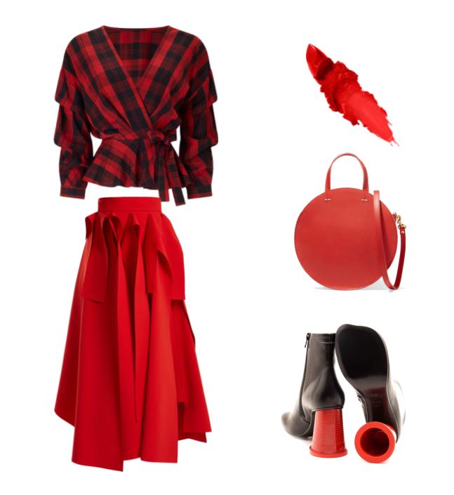 Блуза в клетку с красной юбкой