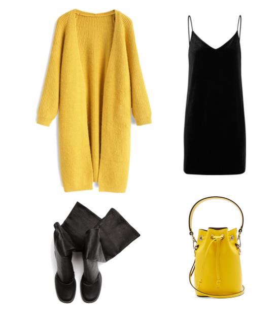 С чем носить желтый кардиган?