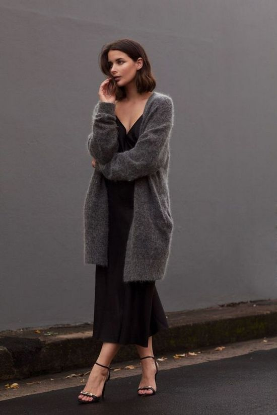 серый кардиган с платьем фото