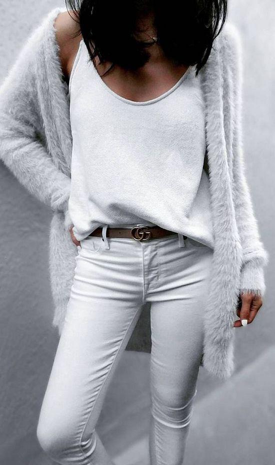 белый кардиган +с +чем носить