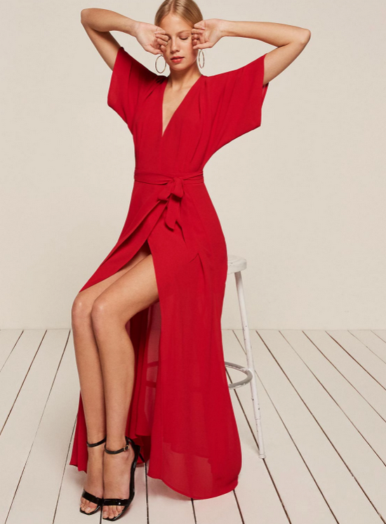 красное платье макси