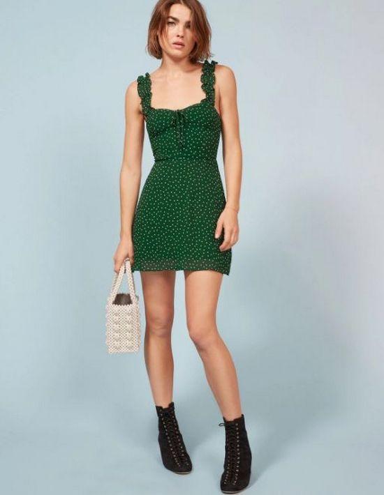зеленый короткий сарафан