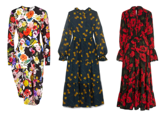 длинные платья с цветами на темном фоне