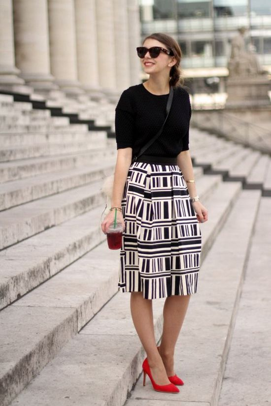 Миди юбка с геометрической расцветки