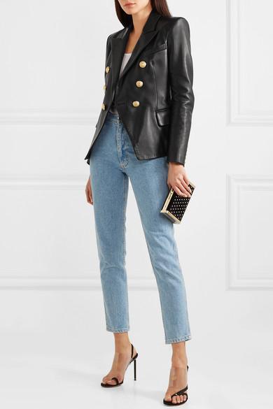 Кожаный пиджак Balmain