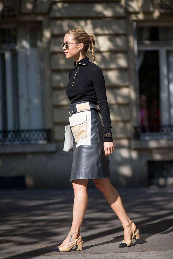 кожаная юбка с карманами