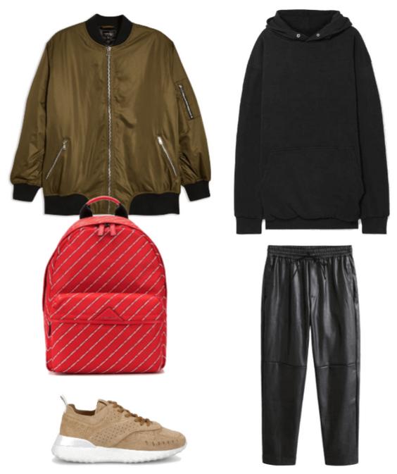 Кожаные брюки, бомбер и худи
