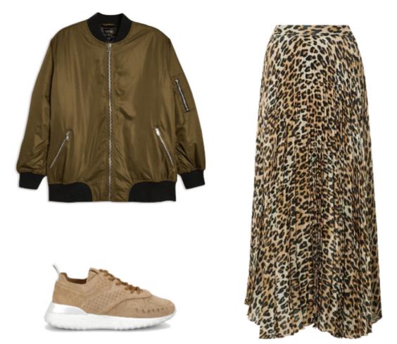 куртка пилот с леопардовой юбкой