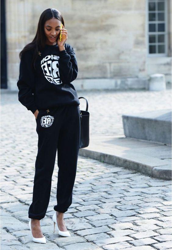 С чем носить черные спортивные штаны