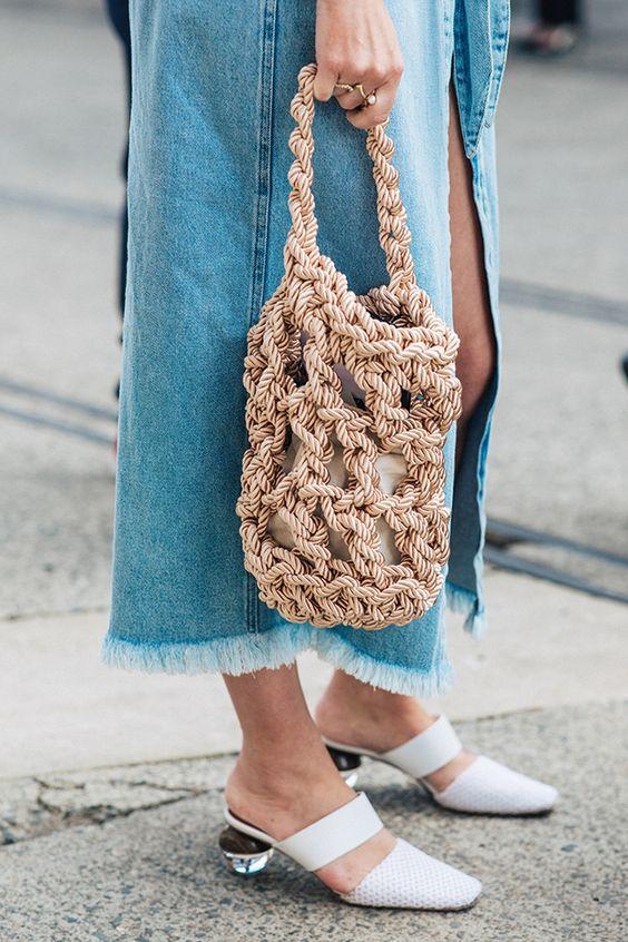 Плетеные сумки в стиле макраме