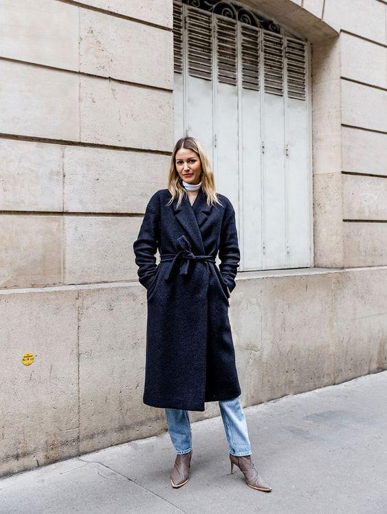 Пальто синие стрит стайл