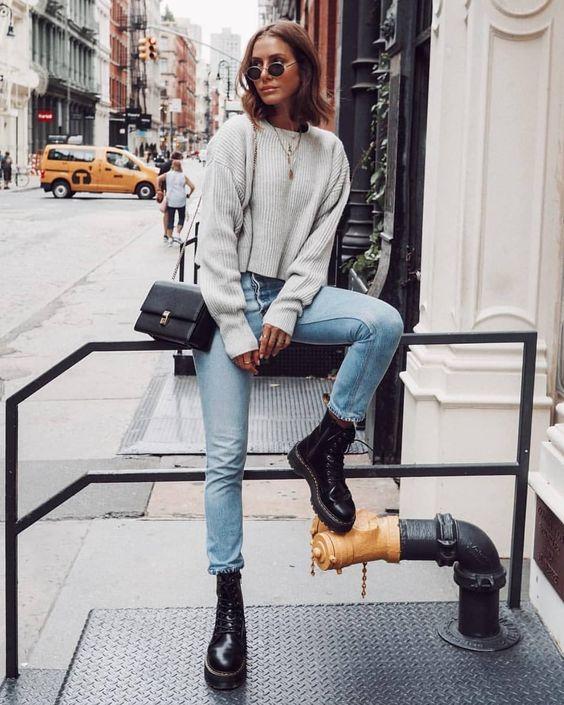 свитер серый стрит стайл