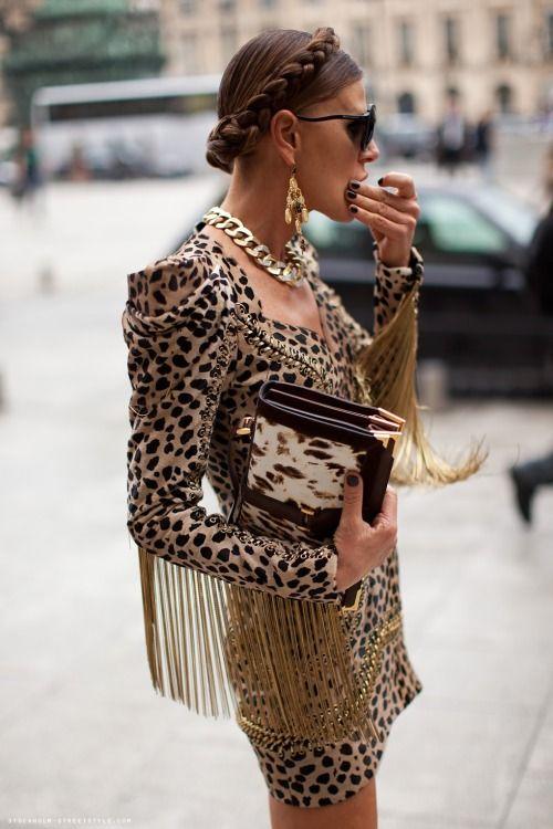 Принт леопард и бахрома