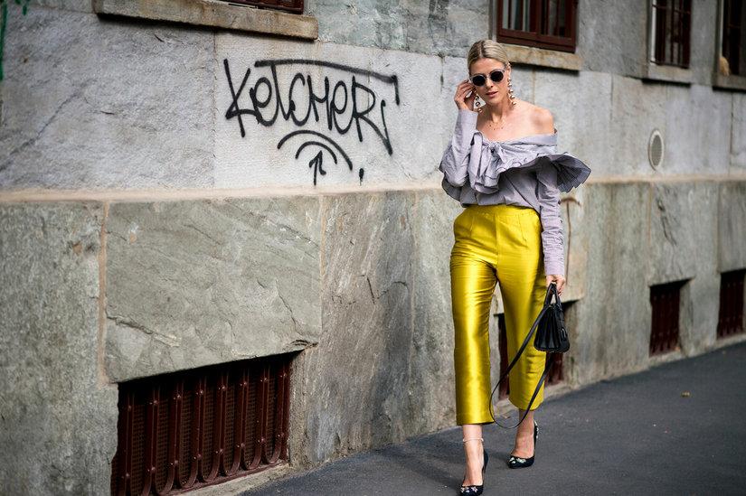 Желтые кюлоты с чем носить?