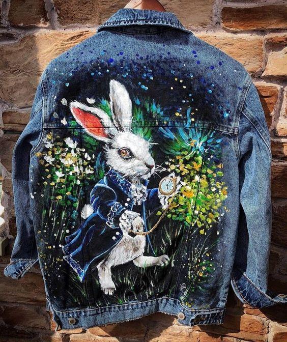 картина на джинсовой куртке на заказ